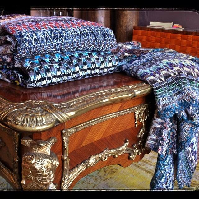 Lush cashmere knitted throws made from MISSONI fabrics.